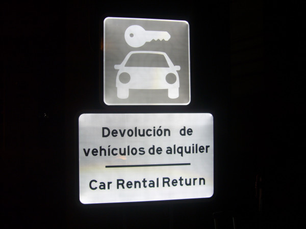 Signaling access parking rent a car Malaga Airport Spain